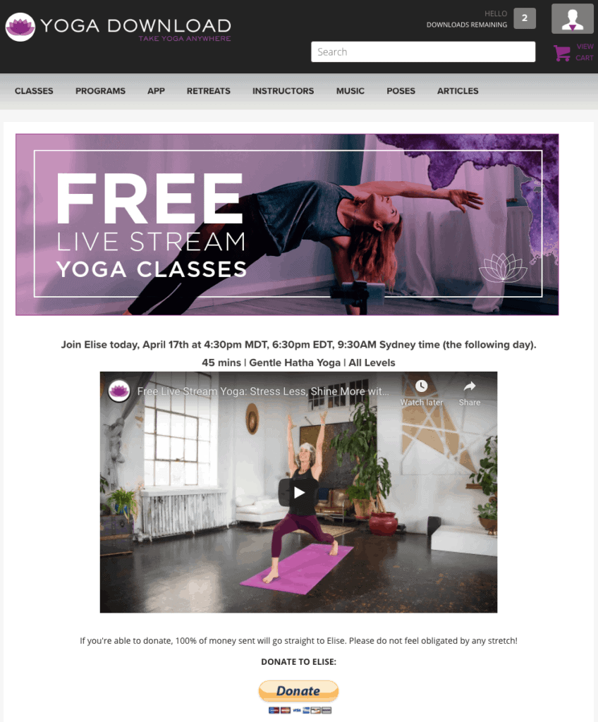 Free live stream yoga classes on Yoga Download