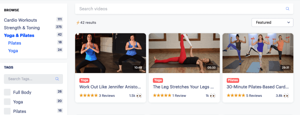 Yoga classes on Active by Pop Sugar