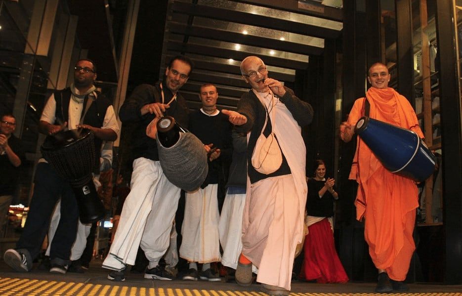 People chanting with ISKCON Melbourne on the street
