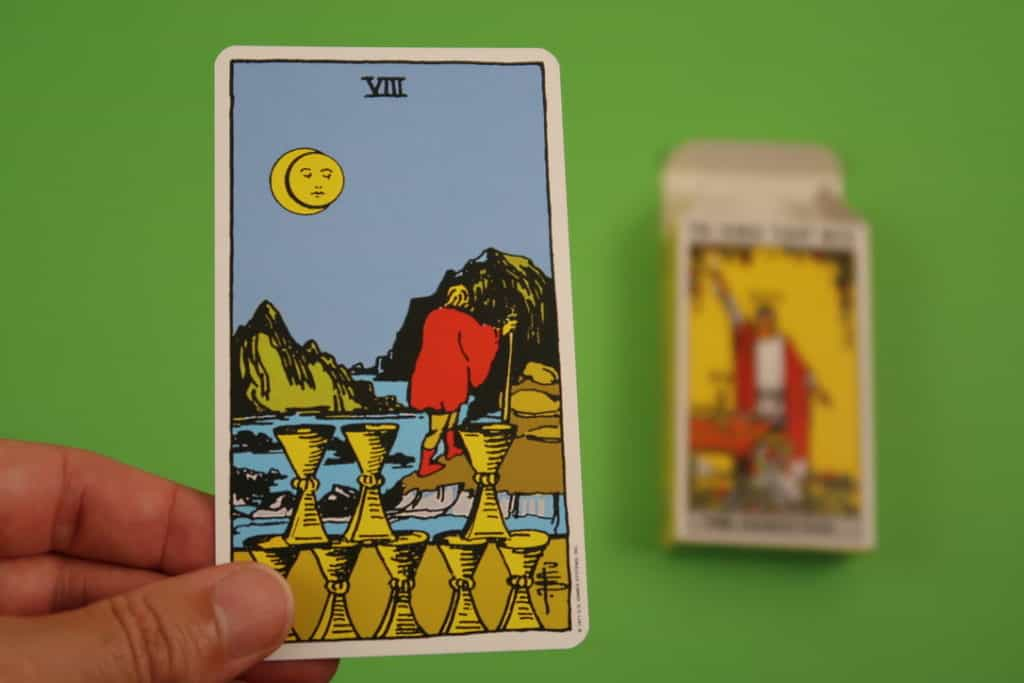 Psychic card reading of The Eight of Cups Upright Rider Waite