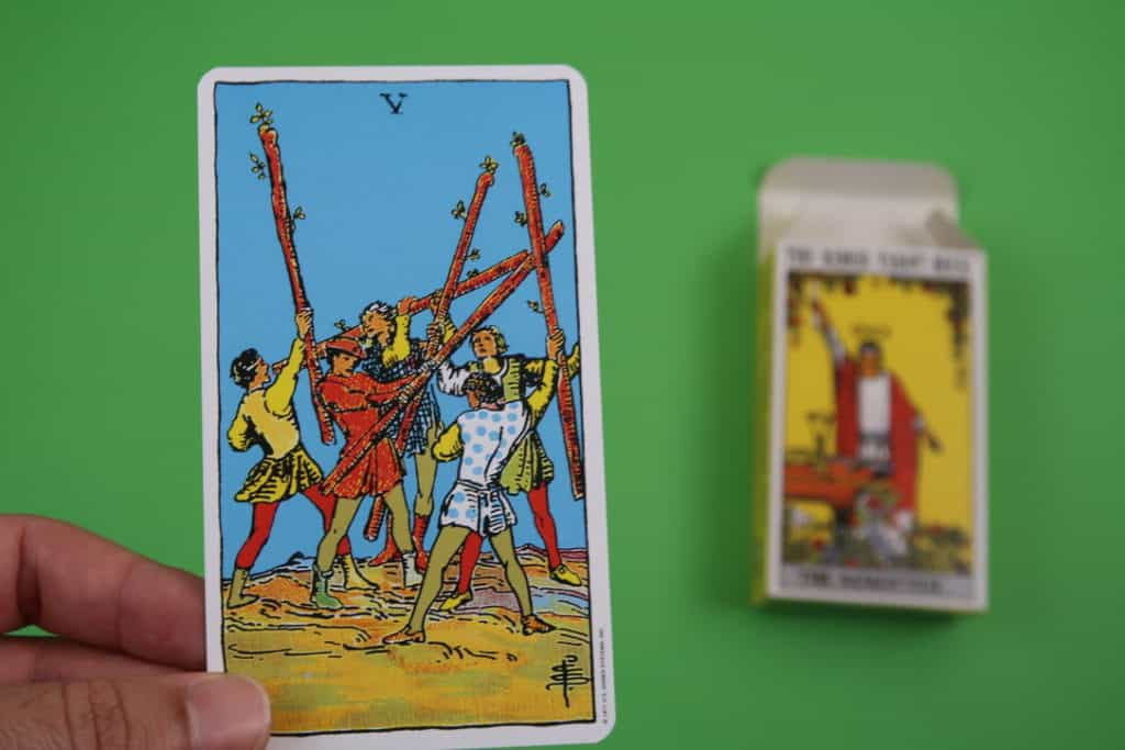 Psychic reading of The Five of Wands upright