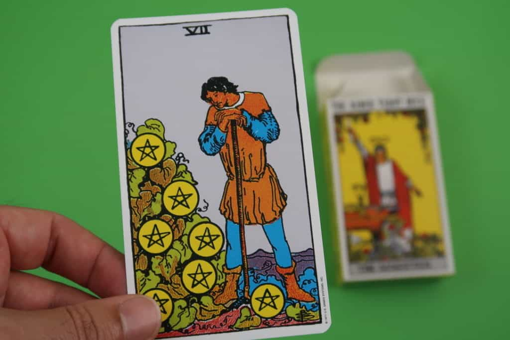 The Seven of Pentacles Upright psychic reading Rider-Waite
