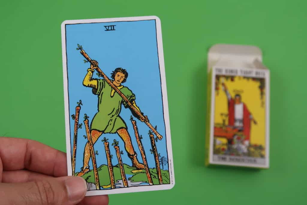 Our psychic reading of The Seven of Wands Upright