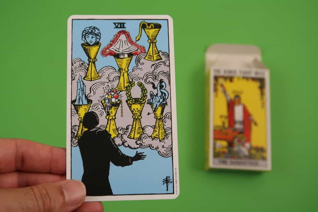 My psychic reading of The Seven of Cups upright